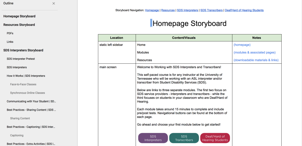screenshot of training site storyboards