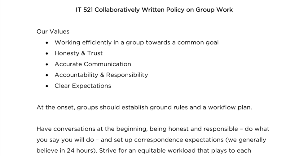 screenshot of collaboratively written policy on group work
