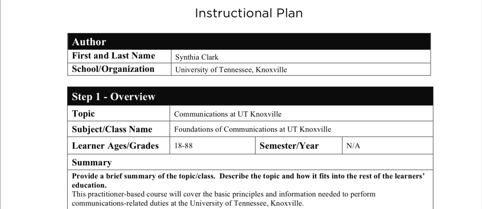 screenshot of Instructional Plan